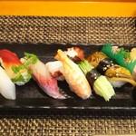 玄海鮨 - 竹にぎり (1000円)+サバ(150円)+カイワレ(100円)