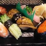 玄海鮨 - 竹にぎり右サイド+サバ+カイワレ