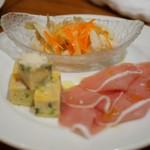 グリル アンブロシア  - スペイン産トルティージャ、パルマ産プロシュート、ワカサギのエスカベッシュ