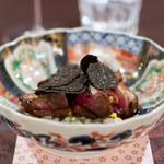 TAIAN TOKYO  - ラカン産の鳩 とうもろこしとパルミジャーノのリゾット、 ハチミツと醤油、ボルディエのバター、 オーストラリアの黒トリュフ