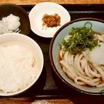 愉々家 - 愉々家@ウィング新橋店 朝定食 ぶっかけうどん・じゃこおろしごはん(420円)