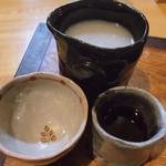 時香忘 - 蕎麦を完食少し前のタイミングで 諦めてた蕎麦湯はポタージュ❣️