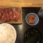 焼肉 けむり - ロース定食150g ライス大盛り