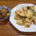 たかま - スジ煮込みと天ぷら盛り合わせ