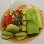 野菜&うまだし KICHI - 向付  夏野菜冷やし出汁和え