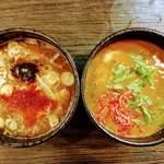 麺家 あべの - 【左】濃厚魚介つけ汁 【右】海老つけ汁