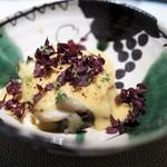 エクアトゥール - 鮑のヴァプール 賀茂茄子 フォアグラと西京味噌のソース 花紫蘇 柚子