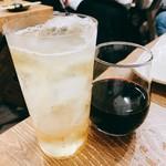 塩ホルモンさとう - ラストオーダーでとろ角ハイボールおかわりと赤ワイン