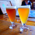 高円寺麦酒工房 - 色の濃い方がIPA、薄い方が塩レモン
