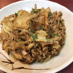 丹波屋 - かき揚げ、玉ねぎ、春菊の葉、ごぼう?、にんじん?かなー