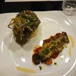 ビストロ アギャット - サザエのサラダとイワシの香草パン粉焼きラタトゥイユ添え