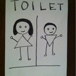 島唄楽園 - お孫さんの描いた可愛らしいトイレのサイン