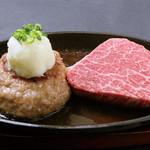 赤身ステーキ(50g)と飲めるハンバーグ(200g)のコンボ