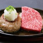 霜降りステーキ(50g)と飲めるハンバーグ(200g)のコンボ