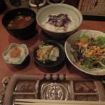 11259526 - ご飯・赤だし・小鉢・香物・サラダ