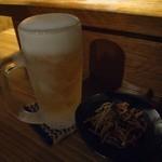 屋台ぎょうざ阿間川 - 樽生ビール