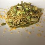 112600709 - 鱧と夏野菜 大葉のジェノベーゼ・ソース 卵黄のカラスミ仕上げ