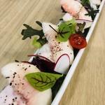 もち乃き - ある日のサラダ   桃と自家製鶏ハム  甘夏ドレ