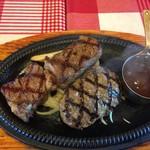 カウボーイ家族 - カウボーイコンボ ステーキ&ハンバーグ(粗挽)(デミバター)(¥2250)