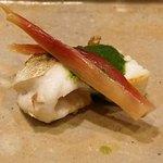 味享 - 鱸の焼物 お米でとろみを付けた蓼酢と茗荷の甘酢漬け