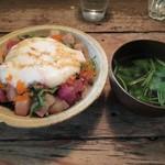 三人灯 - メジマグロ・シマアジのとろろご飯