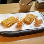 石臼挽き手打 蕎楽亭 - トウモロコシと海老の頭