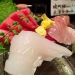 旬材 ふかがわ 真一門 - 料理写真:お刺身盛り合わせ 1,400円〜(中トロ多めでリクエストしました)
