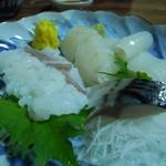魚ざん - 刺身盛り イカ ヒラメ 活タコ 〆サバ