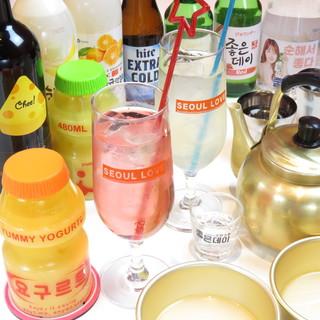 マッコリやチャミスルなど、韓国酒も豊富にご用意しております。