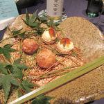 112802405 - 預鉢 ・パルミジャーノ・レッジャーノのビニエ ・西京漬けにしたフォアグラ豆腐と奈良漬け ヘーゼルナッツのクロカンテ