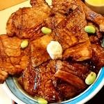 豚丼のはなとかち - 豚丼のはなとかち@帯広 半ばら豚丼中盛・醤油 アップ