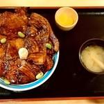 豚丼のはなとかち - 豚丼のはなとかち@帯広 半ばら豚丼中盛・醤油(1200円)