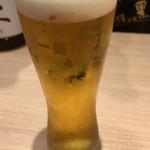 逢酒場 ちろり - ちょい呑みセットのドリンクから生(グラスが鶏肉小さい。。)