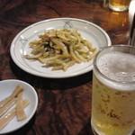 11282148 - ザーサイ・ビール・お通しのメンマ
