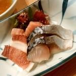 大衆天ぷら まねき屋 - 大衆天ぷら まねき屋@すすきの 刺身三点盛り