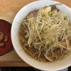 ラーメン二郎 - 料理写真:ラーメン 750円 麺半分・ヤサイ少な目にんにくアブラで