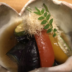 112844910 - 夏野菜の揚げ浸し。