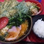 iekeisouhonzanyoshimuraya - ラーメン並+海苔+野菜畑+ライス