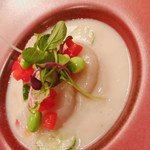 trattoria Mon GATTO - ホタテと夏野菜のマリネ、焼きナスの冷製スープ仕立て