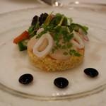 ザ・ガーデン - クレオール風ブルグールにのせた帆立貝とヤリイカ バルサミコビネガー風味