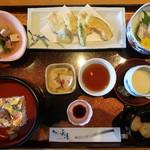 ひらせい - じゃのめ御膳(岩国寿司、レンコン三杯酢、大平、レンコン挟み揚げ、お造り、茶碗蒸し、お椀):1800円