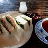 Koohiirankan - 料理写真:蘭館サンドウィッチ(800円)、テ・アプリコット(450円)