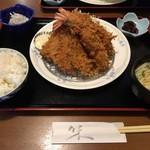 海老フライ(2尾)とアジフライ(2枚)定食