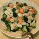 美花林 - 季節野菜と2種海鮮の塩炒め