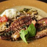 お魚のポワレ~バジルとドライトマトのオリーブオイル~