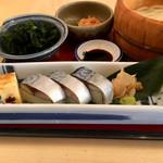 たらいうどん 山のせ - 鯖寿司は山葵で頂きましょ