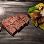 ステーキ&しゃぶしゃぶ ふじた - [料理] 和牛フィレステーキ プレート全景♪W