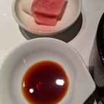 ステーキ&しゃぶしゃぶ ふじた - [料理] お新香 & 刺身醤油