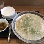 112984051 - エビあんかけチャーハン スープが付いてきます。このスープも美味♪