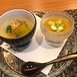 マルホ寿司 - 茄子のお浸し、枝豆のロワイヤル
